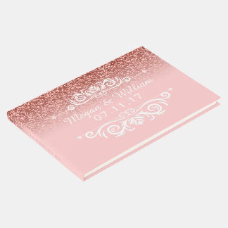 Pink Glitter Wedding | Elegant Wedding Monogram Guest Book