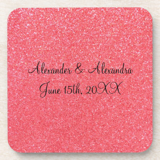 Pink glitter wedding favors drink coasters