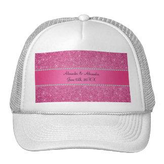 Pink glitter wedding favors trucker hat