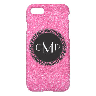 Pink Glitter with Black Circle - iPhone 7 case