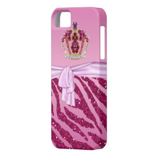 Pink Glitter Zebra Print & Jewel Crown iPhone 5 Cover
