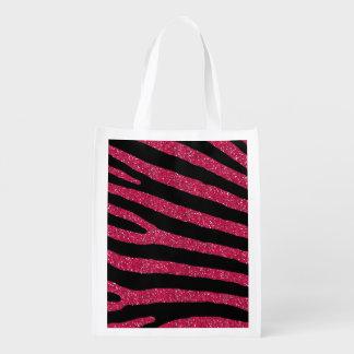 Pink Glitter Zebra Stripe Pattern Market Totes