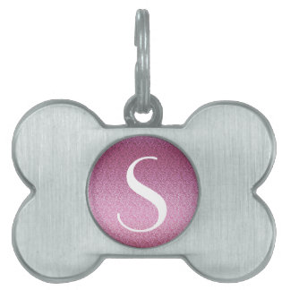 Pink Glittery Gradient Pet Name Tags