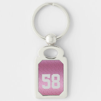 Pink Glittery Gradient Silver-Colored Rectangle Keychain
