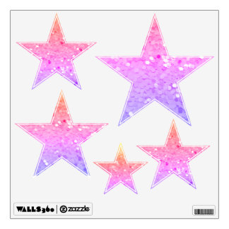 Pink Glittery Look Stars: Wall Decals