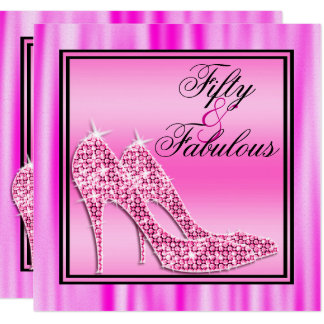 Pink Glittery Stilettos & Music Fabulous 50 Card