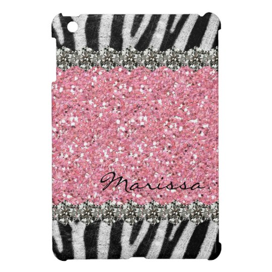 Pink Glittery Zebra Stripes Gems Look Cover For The iPad Mini