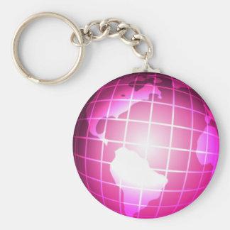 Pink Globe Basic Round Button Keychain