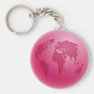 Pink Globe Keychain