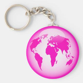 Pink Glossy Globe Basic Round Button Keychain