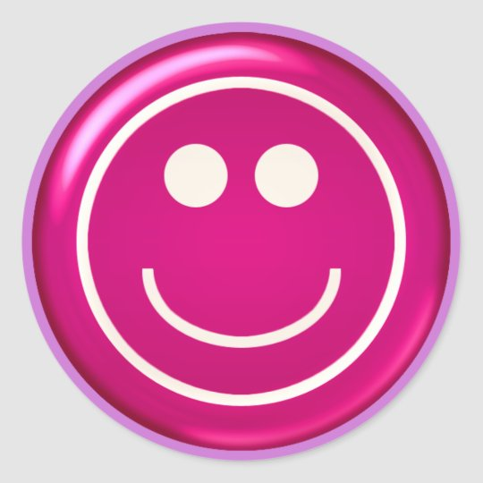 Pink Glossy Happy Face Classic Round Sticker