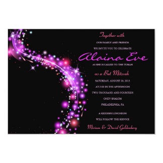 PINK GLOWING STARS Bat Mitzvah Invitation