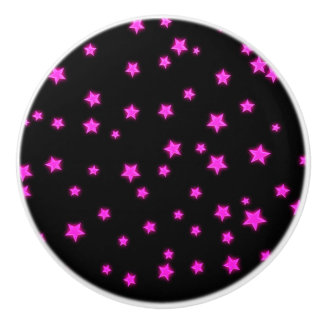 Pink Glowing Stars on Black Space Bedroom Cool Ceramic Knob