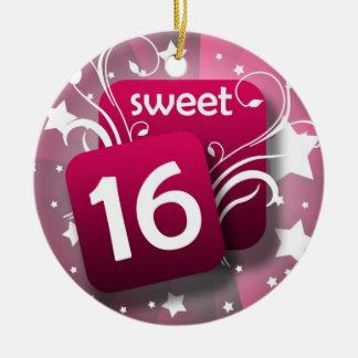 Pink Glowing Swirls and Stars Sweet 16 Round Ceramic Ornament
