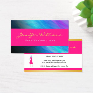 Pink, gold, abstract elegant business card