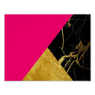 Pink Gold and Black Marble Basic Poster