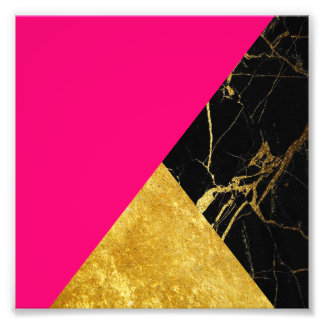 Pink Gold and Black Marble Square Photo Print