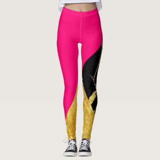 Pink Gold and Black Marble Women's Leggings