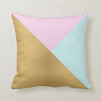 Pink Gold and Black Modern Throw Pillow