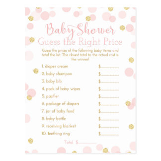 Pink & Gold Baby Shower Guess the Price Game Card