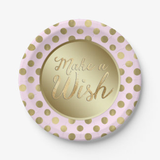 Pink Gold Birthday Party 7 Inch Paper Plate