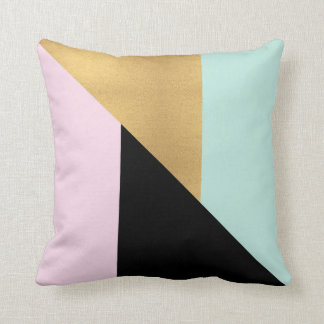 Pink Gold Black & Teal Modern Throw Pillow