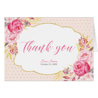 Pink & Gold Bridal Tea Party Thank you note card