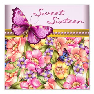 Pink Gold Butterfly Pink Gold Sweet 16 Birthday Card