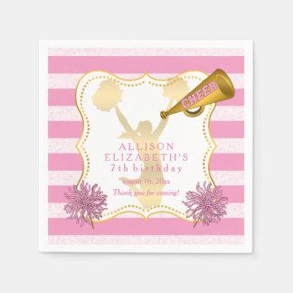 Pink | Gold Cheer Cheerleader Girl Birthday Party Disposable Napkin