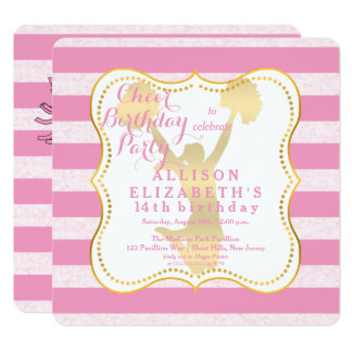 Pink | Gold Cheer Cheerleader Teen Birthday Party Card