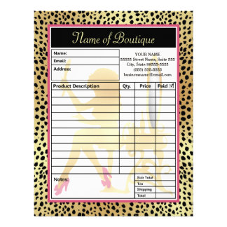 Pink Gold Cheetah Print Beauty Boutique Order Form Personalized Letterhead