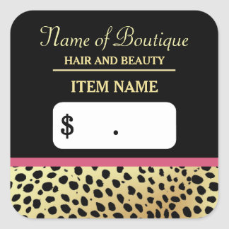 Pink Gold Cheetah Print Beauty Boutique Price Tags Square Sticker
