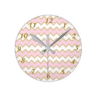 Pink Gold Chevron Baby Girl Nursery Round Clock