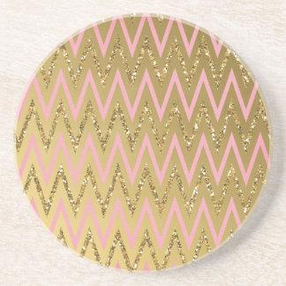 Pink Gold Chevron Pattern Beverage Coasters