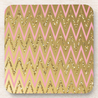 Pink Gold Chevron Pattern Drink Coaster