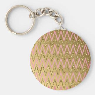 Pink Gold Chevron Pattern Key Chain