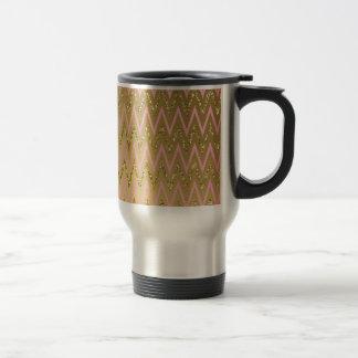 Pink & Gold Chevron Pattern Coffee Mugs