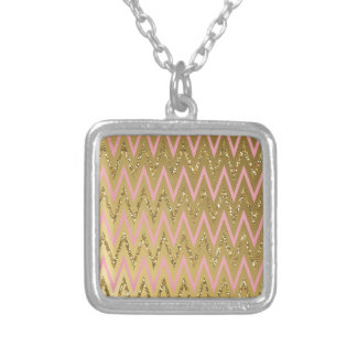 Pink & Gold Chevron Pattern Pendant