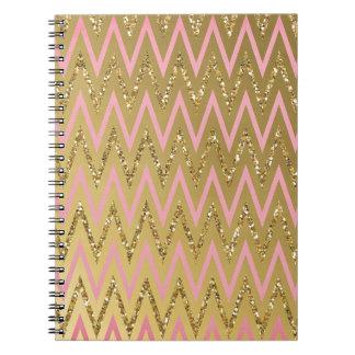 Pink & Gold Chevron Pattern Spiral Note Books