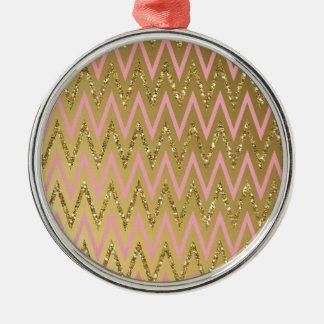 Pink & Gold Chevron Pattern Christmas Ornaments