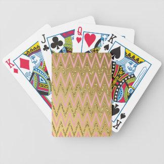 Pink Gold Chevron Pattern Card Decks