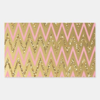 Pink & Gold Chevron Pattern Stickers
