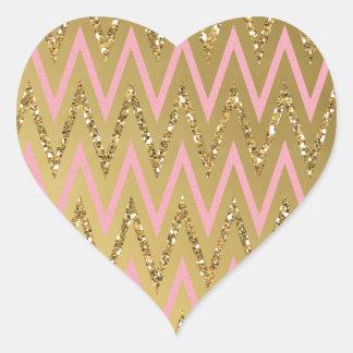 Pink Gold Chevron Pattern Sticker
