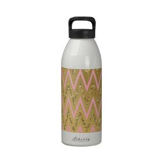 Pink Gold Chevron Pattern Drinking Bottles