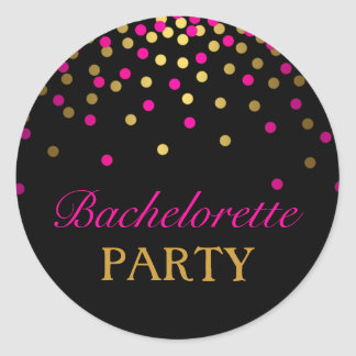 Pink & Gold Confetti Bachelorette Sticker