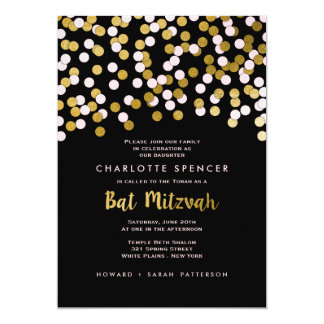 Pink | Gold Confetti Bat Mitzvah Celebration Card