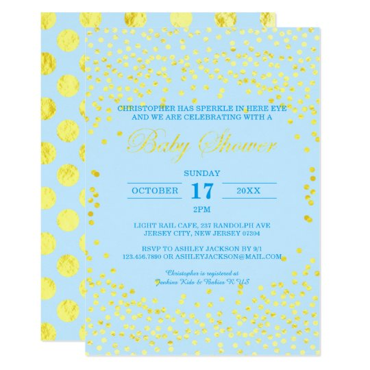 Pink Gold Confetti Boy Baby Shower Invitation