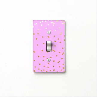 Pink & Gold Confetti Dots Modern Glamour Glam Light Switch Cover