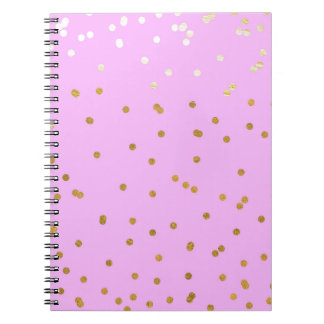 Pink & Gold Confetti Dots Modern Glamour Glam Notebooks