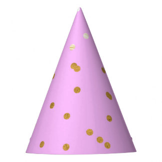 Pink & Gold Confetti Dots Modern Glamour Glam Party Hat